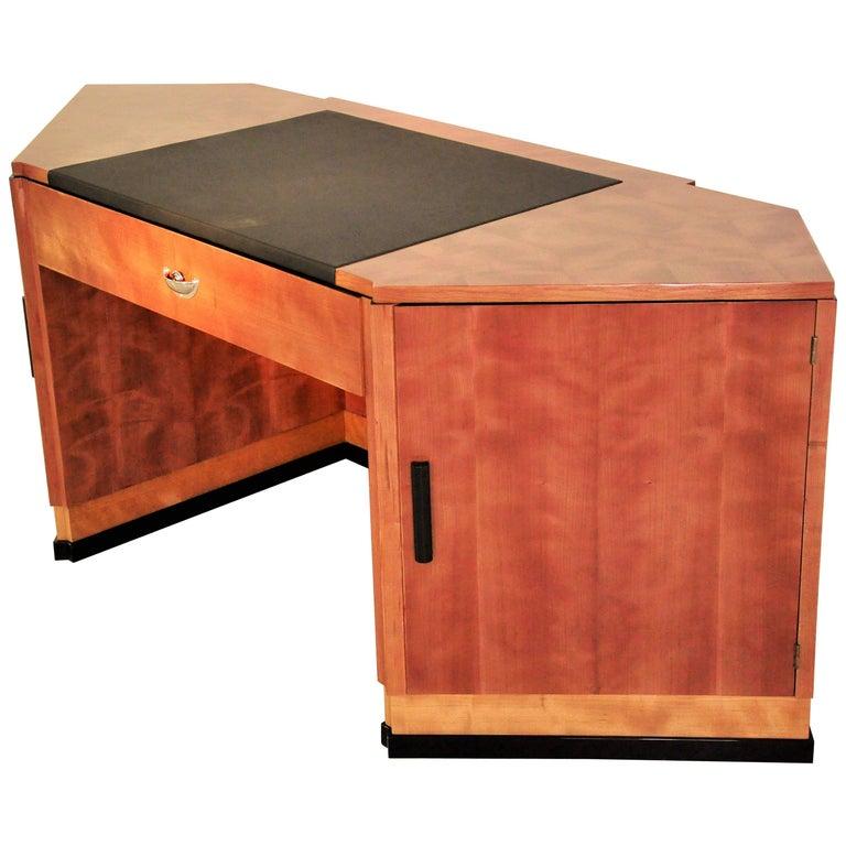 Sechseckiger Art Deco Schreibtisch aus Kirschbaumholz und Mahagoni 1