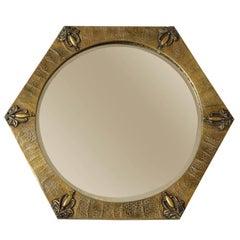 Hexagonal Arts & Crafts Copper Mirror