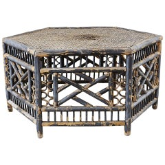 Hexagonal Bamboo Brighton Chinese Chippendale Cocktail Table