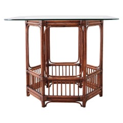 Hexagonal Bamboo Rattan Dining or Center Table