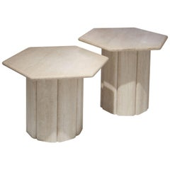 Hexagonal Beige Travertine Marble Italian Pair of Side Tables, Italy, 1970