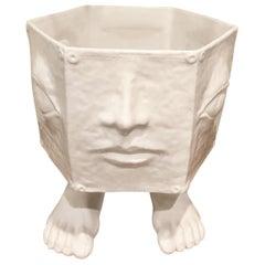 Hexagonal Body-Feature Planter in White Textured Glaze Ceramic, Italy circa 1965