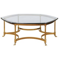 Hexagonal Brass and Glass Coffee Table, 20th Century