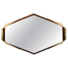 "Hexagonal Brass and Walnut ""Argon"" Mirror by Arcana"