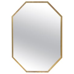 Hexagonal Brass Framed Mirror, circa 1950s, Italy
