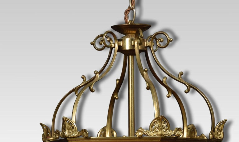 British Hexagonal Brass Hall Lantern For Sale