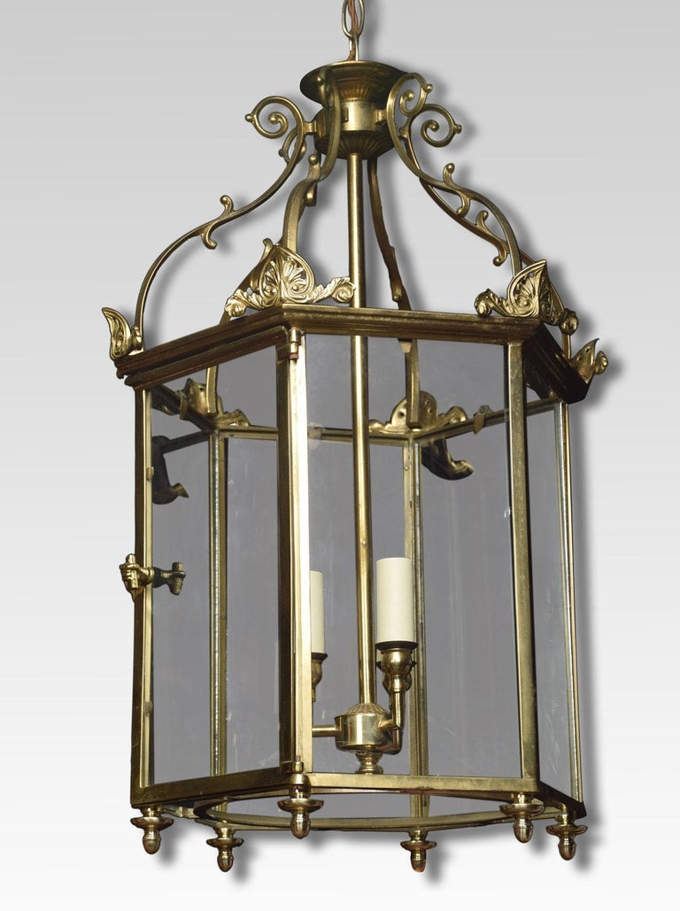 20th Century Hexagonal Brass Hall Lantern For Sale