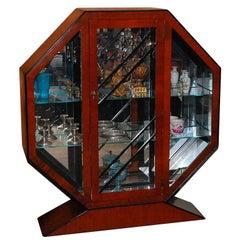 Hexagonal Cherry and Ebonized Wood Vitrine