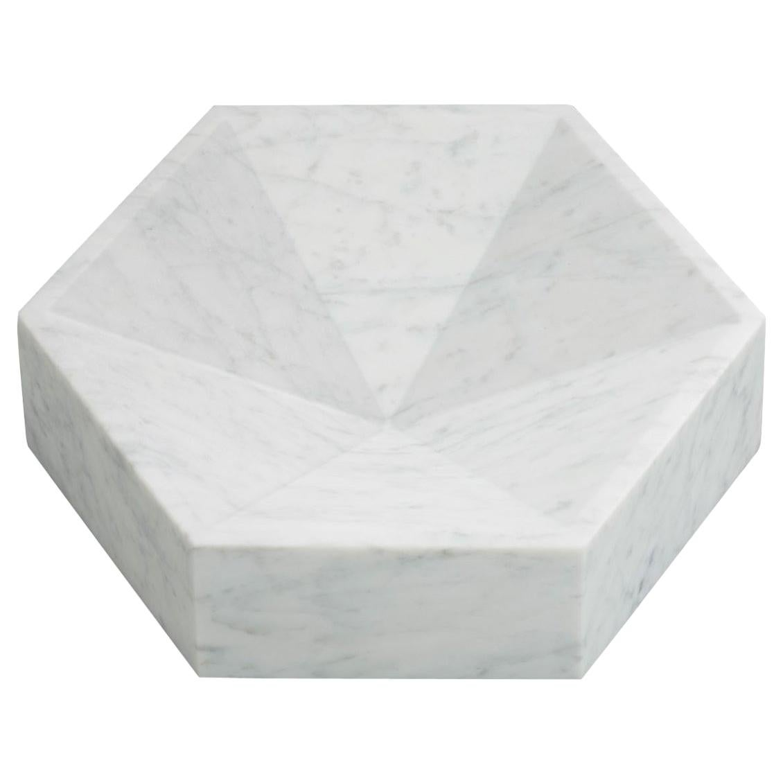 Hexagonal Constellation Bowl, Small Low in Carrara Marble, In Stock