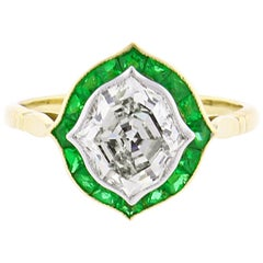 Hexagonal Diamond and Emerald Ring