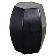 Hexagonal Drumstool, Black Lacquer by Robert Kuo, Hand Repousse, Limited