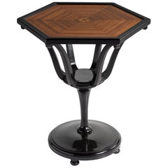 Hexagonal Ebonised Table, England, 20th Century