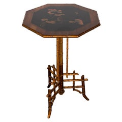 Hexagonal Faux Bamboo Side Table