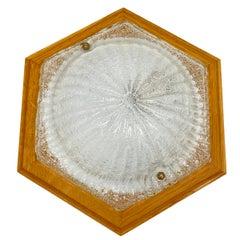 Hexagonal Flush mount Murano Ice Glass Wood Frame, 1980s