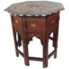 Hexagonal Folding Hand Carved Bone Inlaid Indian Side Table