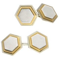 Hexagonal Gold Platinum Cufflinks