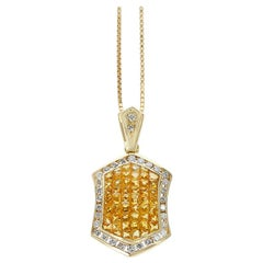 Hexagonal Invisibly Set Yellow Sapphire Pendant Necklace with Diamonds, 18K Gold