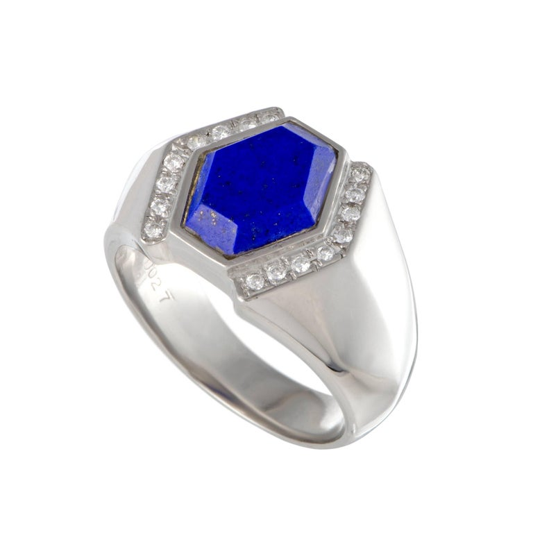 Hexagonal Lapis Lazuli Diamond Platinum Ring