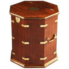 Hexagonal Mahogany and Brass Occasional Table or Campaign Box