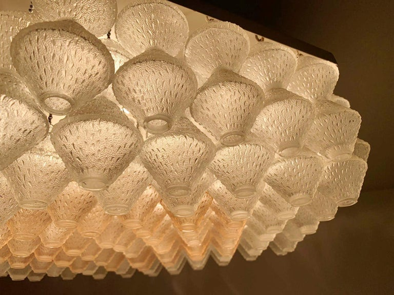Hexagonal Murano Flush Mount by Venini In Good Condition For Sale In Palm Springs, CA