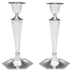 Hexagonal Pair of Sterling Silver Candlesticks by Walker & Hall, 1924