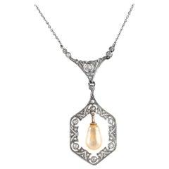 Hexagonal Pearl Pendant-Necklace