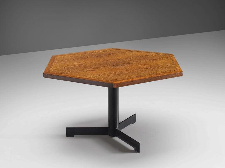 Mid-Century Modern Hexagonal Pedestal Table in Wenge For Sale