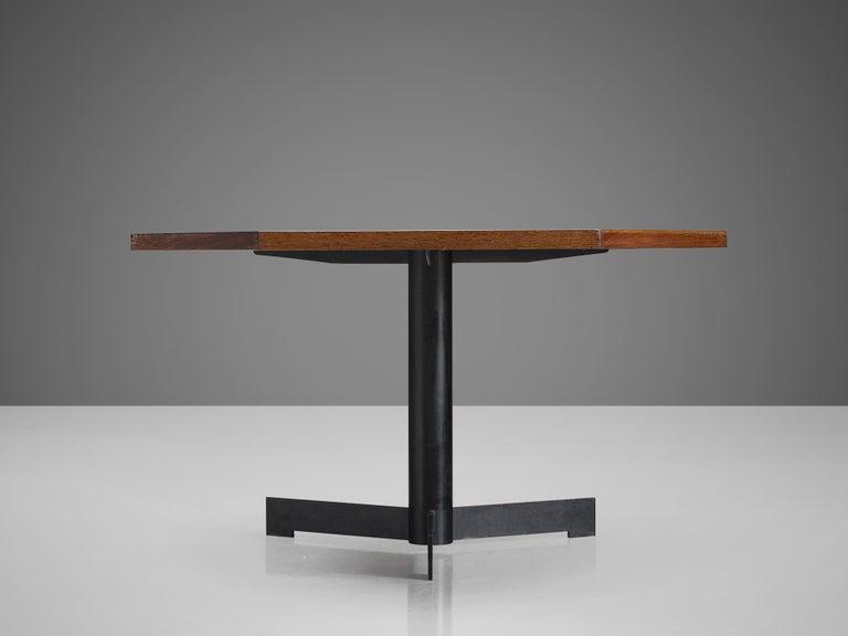 Hexagonal Pedestal Table in Wenge In Good Condition For Sale In Waalwijk, NL
