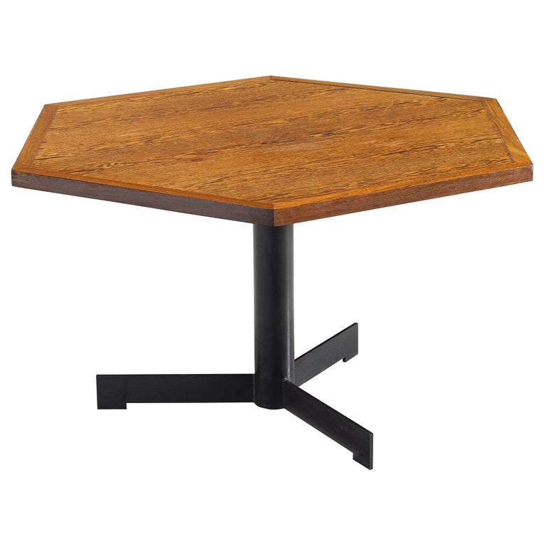 Hexagonal Pedestal Table in Wenge For Sale