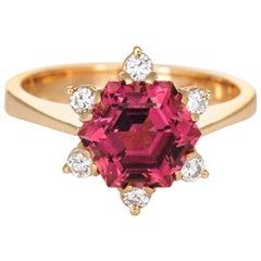 Hexagonal Pink Tourmaline Diamond Ring Vintage 18 Karat Gold Estate Jewelry