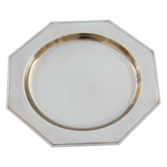 Hexagonal Plate in Solid Brass Gold Italian Design 1970 Tray