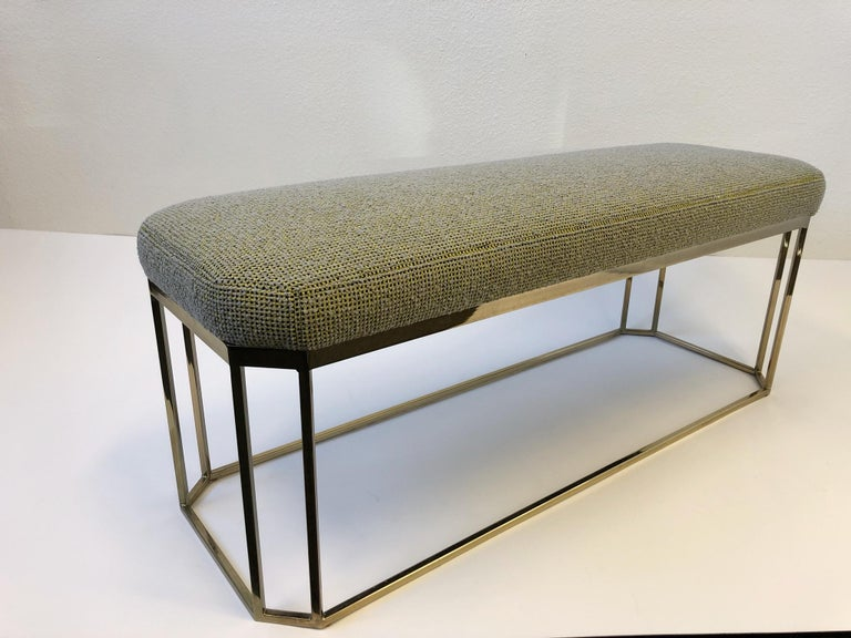 """A glamorous 1970s hexagonal shape """"Thin Line"""" polish brass bench by Milo Baughman. The bench has been newly recovered in this beautiful natural wool with yellow and black in a grid pattern (see detail photos) the brass frame is in original"""