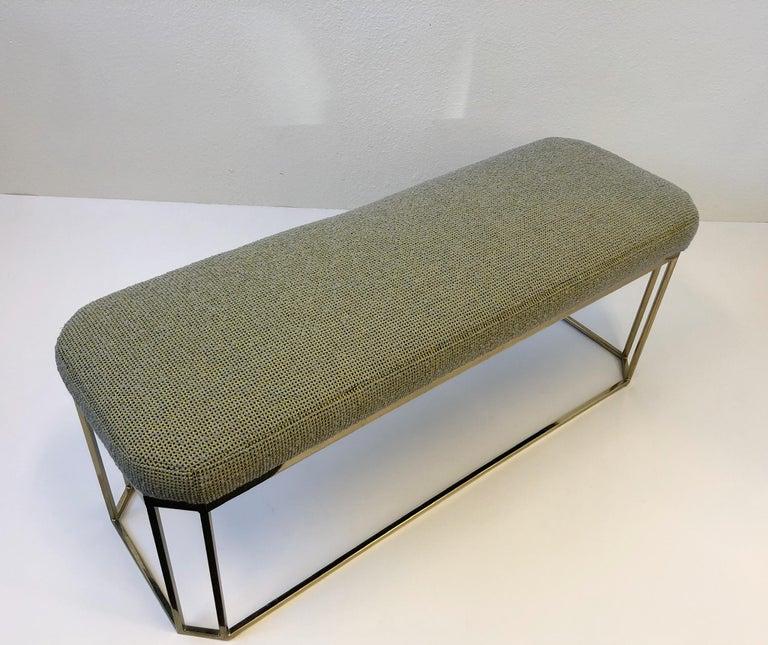 Modern Hexagonal Shape Brass Bench by Milo Baughman For Sale
