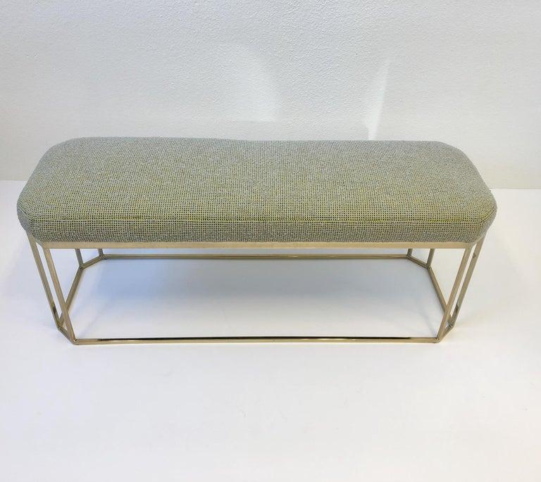 American Hexagonal Shape Brass Bench by Milo Baughman For Sale