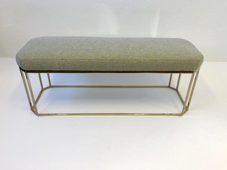 Polished Hexagonal Shape Brass Bench by Milo Baughman For Sale