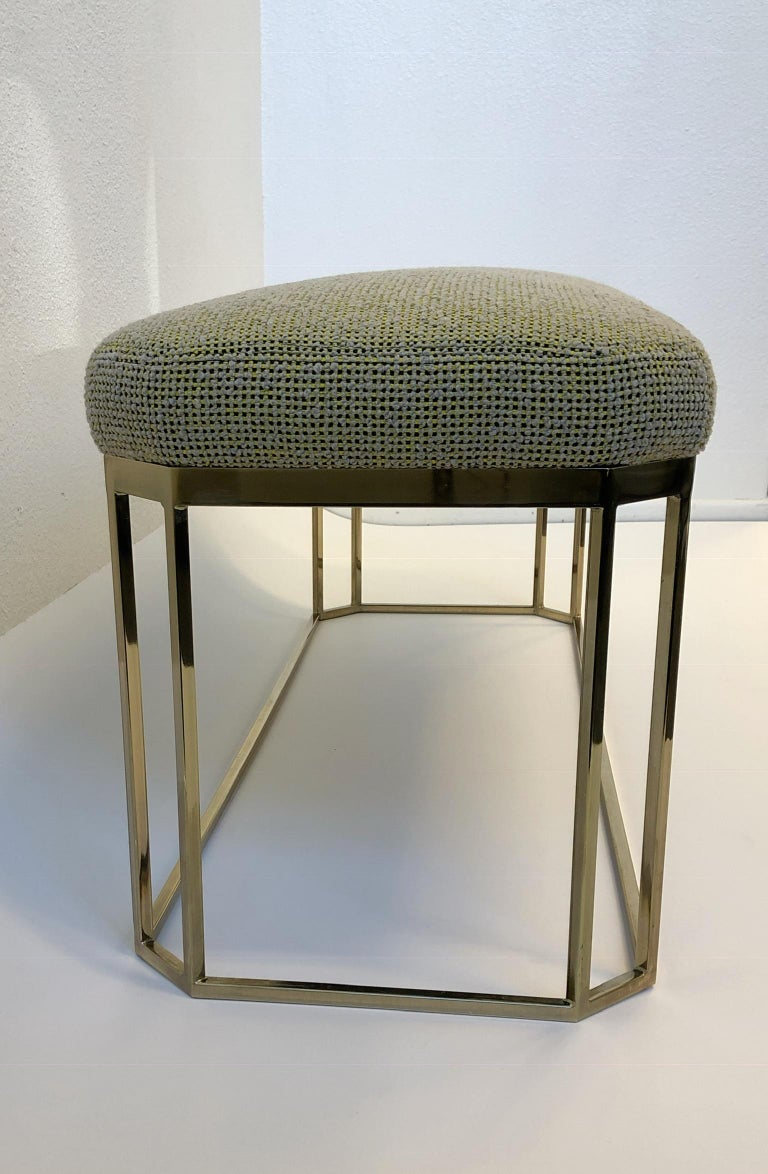 Hexagonal Shape Brass Bench by Milo Baughman In Excellent Condition For Sale In Palm Springs, CA