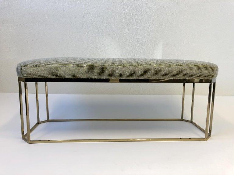 Late 20th Century Hexagonal Shape Brass Bench by Milo Baughman For Sale