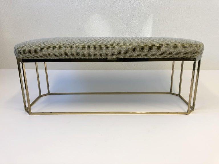 Hexagonal Shape Brass Bench by Milo Baughman For Sale 1