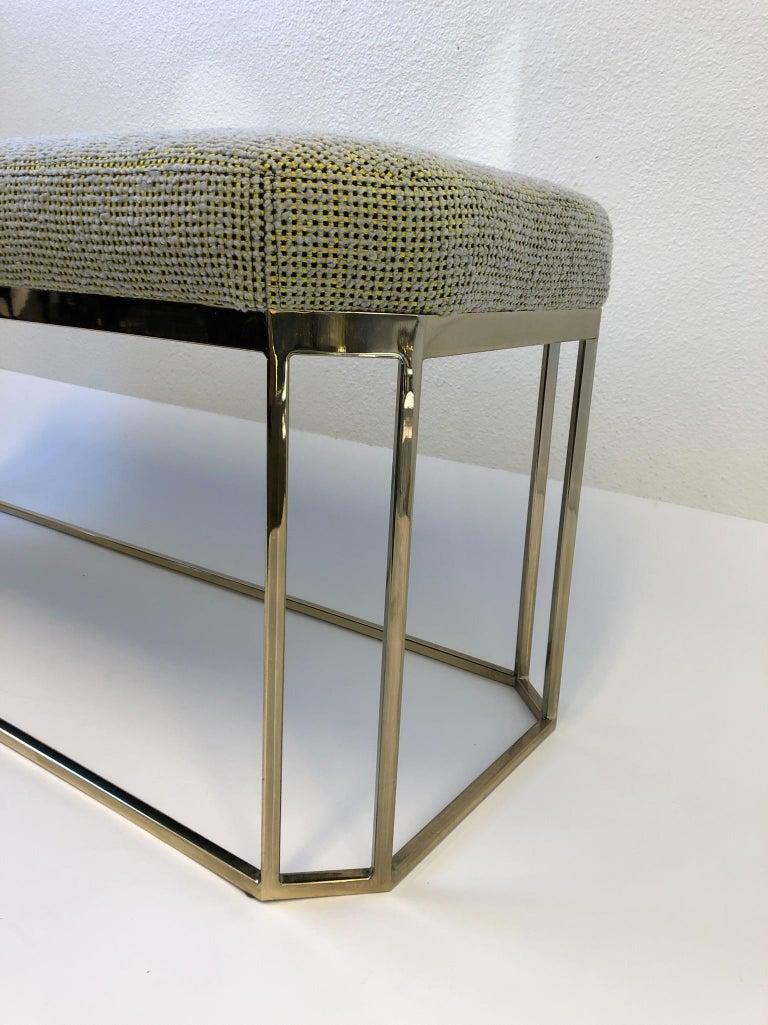 Hexagonal Shape Brass Bench by Milo Baughman For Sale 2