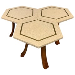 Hexagonal Side Table Set by Harvey Probber with Terrazzo Stone Top, Brass Inlay