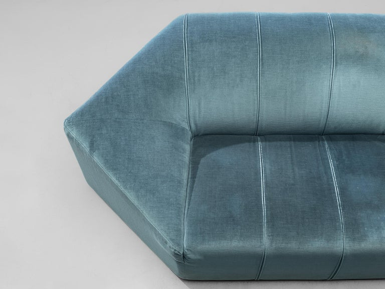 Hexagonal Sofa with Pair of Side Tables For Sale 4