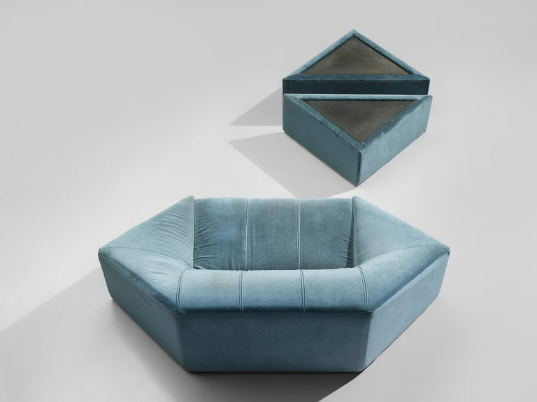 Hexagonal Sofa with Pair of Side Tables For Sale 5