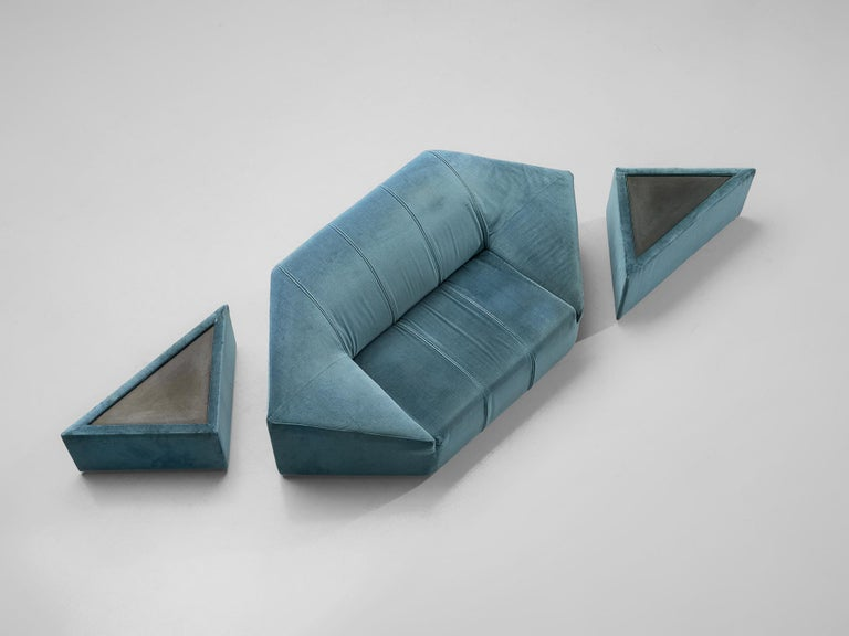 Two-seat sofa with pair of side tables, aquamarine velour upholstery, Italy, 1960s.