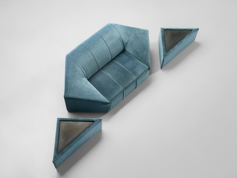 Italian Hexagonal Sofa with Pair of Side Tables For Sale