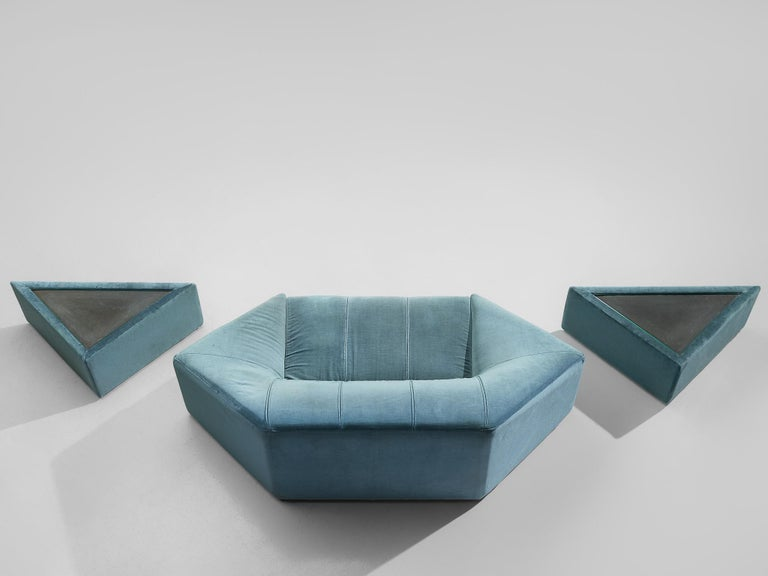 Mid-20th Century Hexagonal Sofa with Pair of Side Tables For Sale