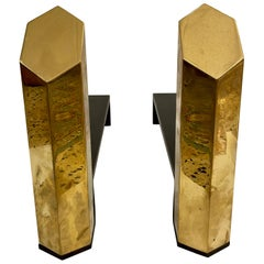 Hexagonal Solid Brass Andirons, Pair