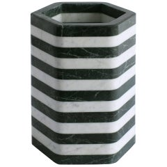 Contemporary Hexagonal Stacked Stone Vessel in Marble by Fort Standard, in Stock