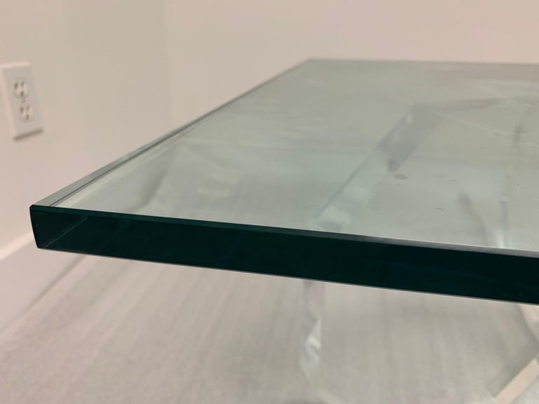 Hexagonal Thick Lucite Base Coffee Table In Good Condition For Sale In East Hampton, NY