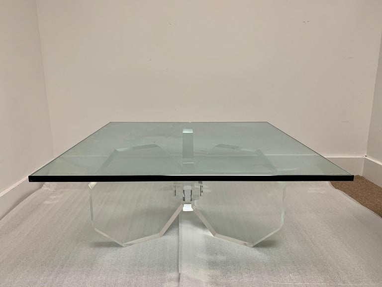 Hexagonal Thick Lucite Base Coffee Table For Sale 1
