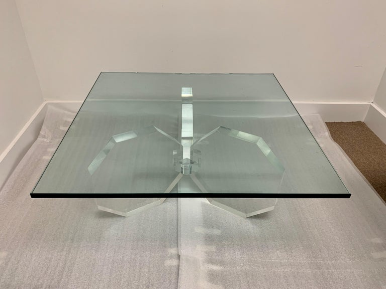 Hexagonal Thick Lucite Base Coffee Table For Sale 2